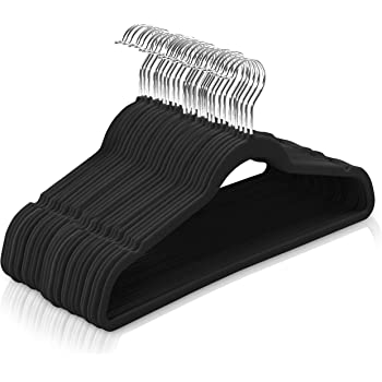 Utopia Home (Pack of 50 Premium Non Slip Velvet Hangers - 360-degree rotatable Hook - Durable & Slim - Coat Hangers - Pant Hangers - Black