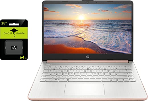 """2021 Newest HP 14"""" HD Laptop for Business and Student, Intel Celeron N4020(up to 2.8GHz), 4GB RAM, 64GB eMMC, 1 Year Office 365, USB-A&C, WiFi, Webcam, HDMI, Win10 S, w/64GB SD Card"""