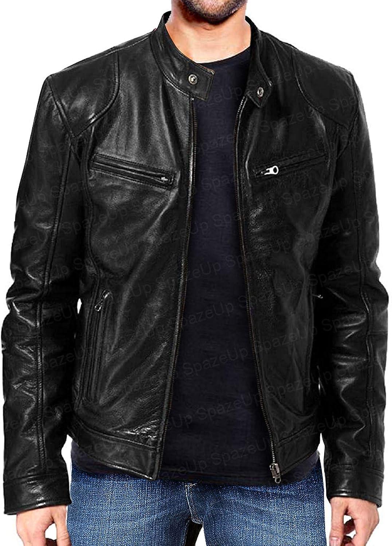 Vintage Motorcycle Cowhide Biker Leather Jacket for Mens