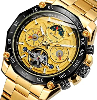 Forsining Mens Tourbillon Automatic Mechanical Self-Wind Luxury Moon Phase Stainless Steel 44mm Big Black Dial Wrist Watch
