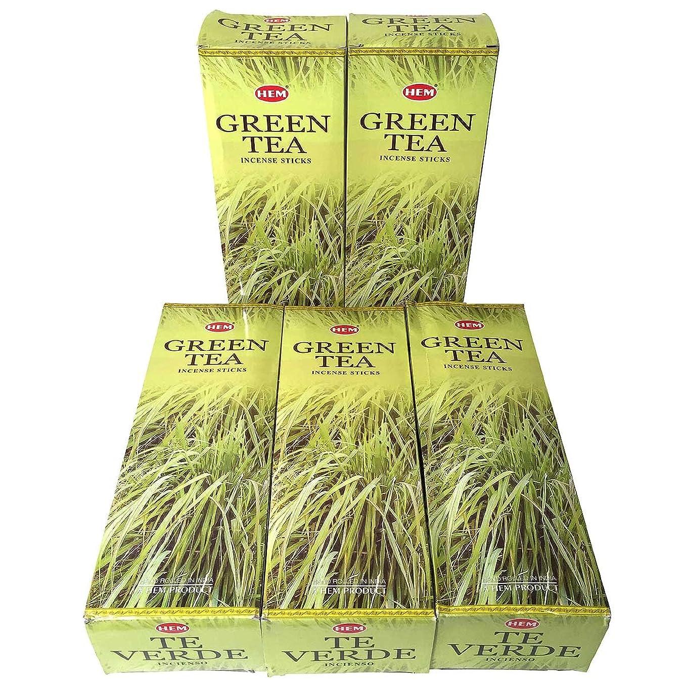 ハドル厚くする形HEM グリーンティー香 スティック 5BOX(30箱)/HEM Green Tea/ インド香 / 送料無料 [並行輸入品]