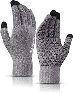 Winter Gloves for Men and Women - Upgraded Touch Screen Anti-Slip Silicone Gel - Elastic Cuff - Thermal Soft Wool Lining - Knit Stretchy Material