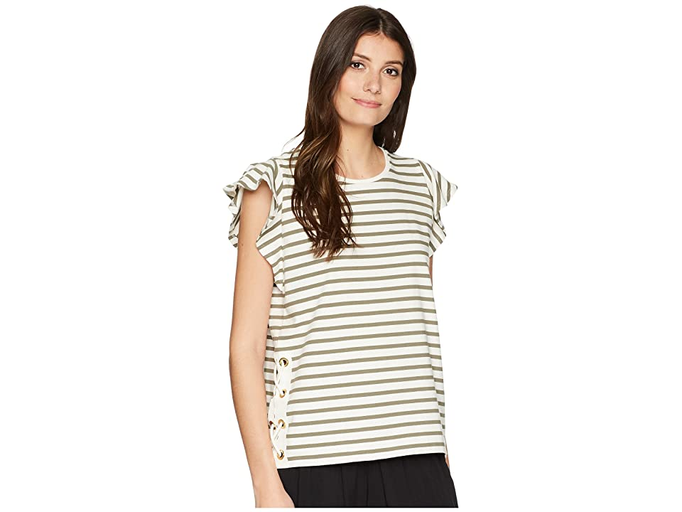 LAUREN Ralph Lauren Striped Cotton Flutter Sleeve T-Shirt (Mascarpone Cream/Sage Moss) Women