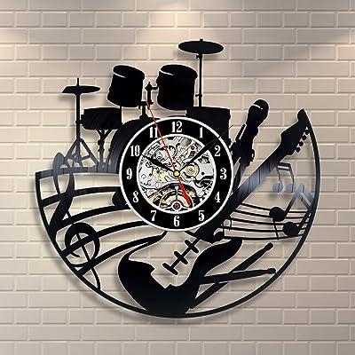 Kovides Drums Guitar Music Wall Clock Handmade Musical Instruments Vintage Vinyl Record Clock Music Minimalist Clock Birthday Gift Idea Decorations for Party Retro Wall Clock
