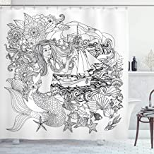 Ambesonne Mermaid Decor Collection, Mermaid with Abstract Hair Flowers Leaves Sailboat Waves Fish Image Print, Polyester Fabric Bathroom Shower Curtain Set with Hooks, Black and White