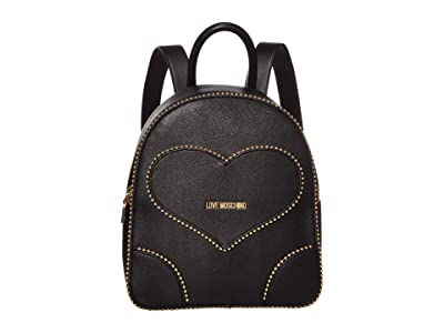 LOVE Moschino Embroidery Of Love Backpack (Black) Backpack Bags