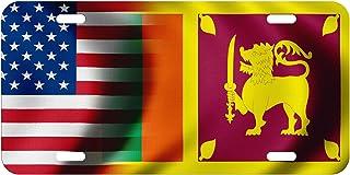 High Grade Aluminum License Plate - Flag of Sri Lanka (Sri Lankan) - Waves/USA