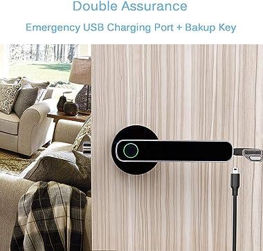 HARFO L1 Fingerprint Door Lock(Silver)+A02 5-in-1 Keyless Entry Door Lock(Black)