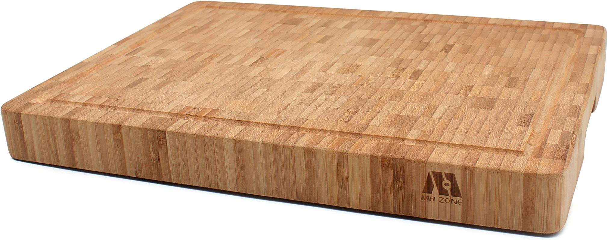 MH ZONE Large Thick 16 X 12 X 1 6 End Grain Bamboo Cutting Board For Kitchen Butcher Block Heavy Duty Chopping Board With Juice Grooves And Handles Perfect Christmas Gifts
