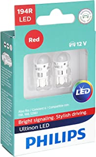 Philips 194 Ultinon LED Bulb (Red), 2 Pack