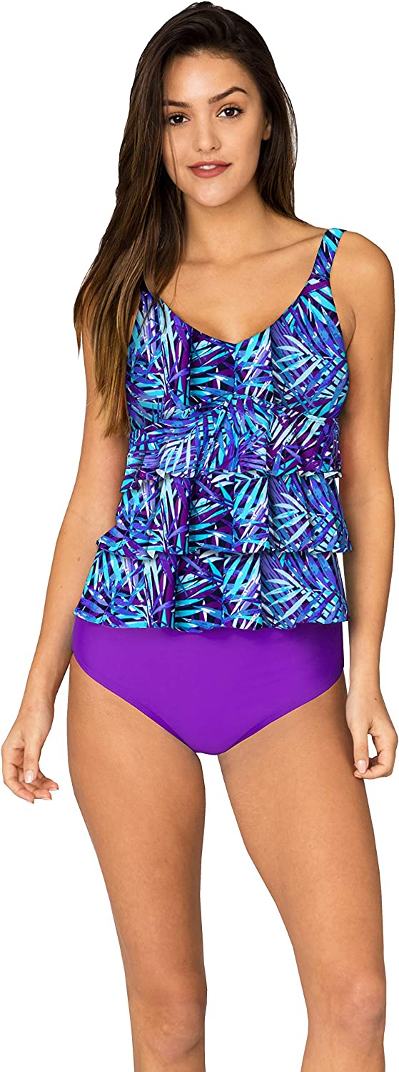 INGEAR Tankini Set Bathing Suits Two Pieces Swimsuit Ruffled Backless Plus Size Printed