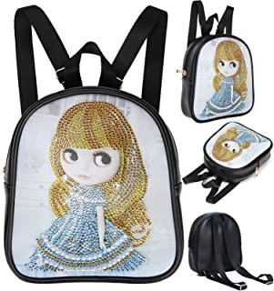 DIY 5D Diamond Painting Crossbody, lovely Girl Pattern, Special Shaped Drill Cross Stitch Leather Shoulder Bag Handbag Pur...