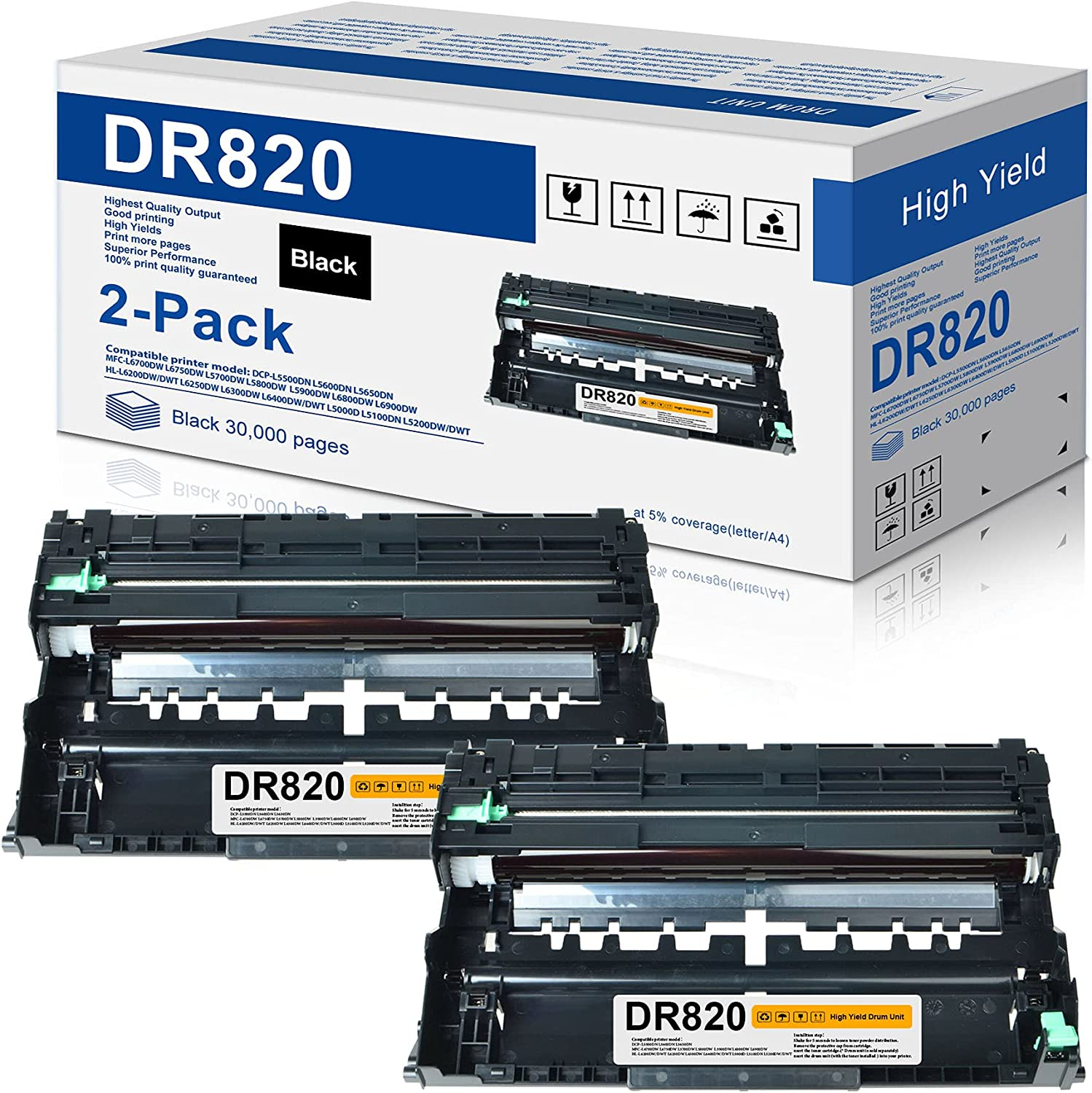 2-Pack Compatible Drum Unit Replacement for Brother DR820 DR 820 DR-820 to use with HL-L6200DW MFC-L5900DW HL-L5100DN MFC-L5800DW MFC-L5700DW HL-L5200DWT MFC-L6700DW HL-L5200DW Printer
