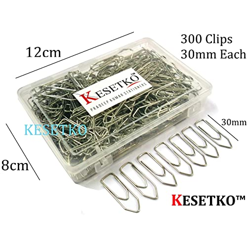 KESETKO® (Box of 300 Pcs) 30mm, Paper Clips, Metal U Clips, Gem Clips, Streamlined Shape for Offices, Homes
