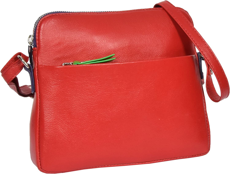 Ladies Soft Leather Small Cross Body Organiser Shoulder Travel Sling Bag Ellie Red