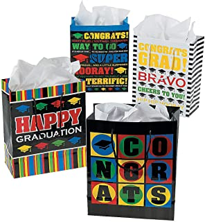 Fun Express - Med Graduation Gift Bags for Graduation - Party Supplies - Bags - Paper Gift W & Handles - Graduation - 12 Pieces