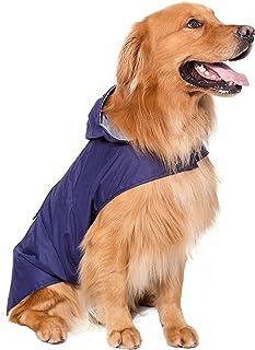 BPS® Chubasqueros Impermeables para Mascotas Perros, Impermeables con Capucha para Perro Mediano y Grande 3 Colores para Elegir con Material 100% Poliéster (Azul, 70cm) BPS-9115A