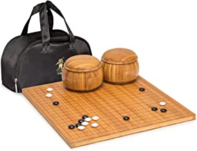 Yellow Mountain Imports Go Game Set with Etched Bamboo Go Board (0.8 Inch Thick), Double Convex Melamine Stones (Size 32.5) and Bowls