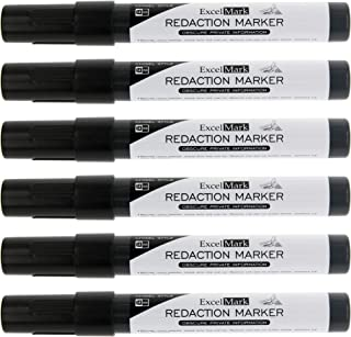 ExcelMark Security Redaction Marker - Blackout Private Information With Our Convenient Redacting Pen (6 Markers)
