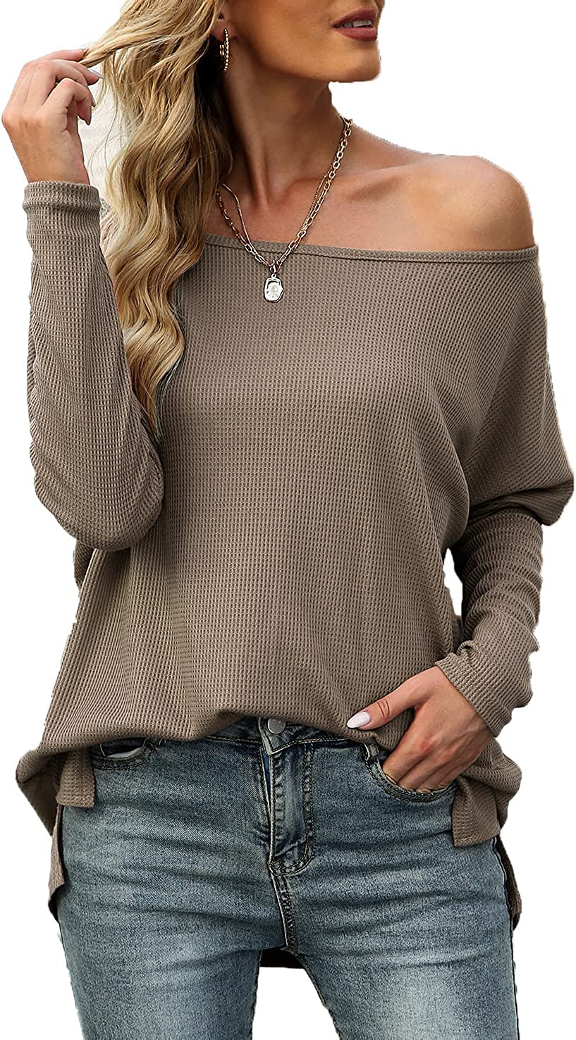 Quenteen Women's Sales of SALE items from new works Off Shoulder Genuine Free Shipping Pullover Sleeve Oversize Long Tops
