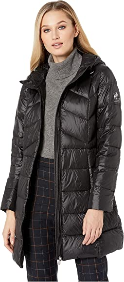 Combo Quilted 3/4 Soft Down Jacket w/ Hood
