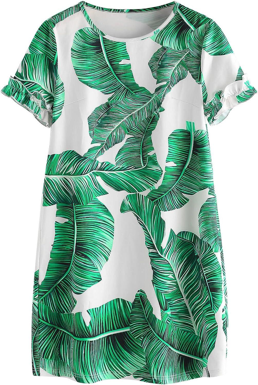 Floerns Women's Palm Leaf Print Short Sleeve Summer Dress