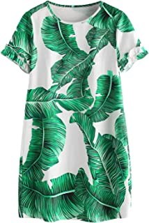 Floerns Women's Palm Leaf Print Short Sleeve Summer Dress