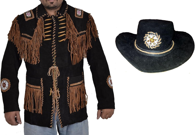 SRHides Men's Western Suede Leather Coat and Hat