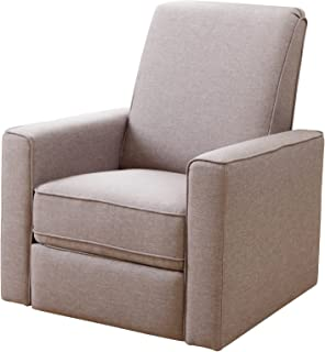 Abbyson Hampton Beige Nursery Swivel Glider Recliner Chair, Light Taupe Gray