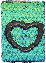 MHJY Magic Sequin Journal Reversible Sequin Notebook Mermaid Sequins Journal Color Changing Office Notebook School Diary for Kids Girls Festival Birthday Gifts (Multicolor Green/Black)