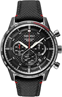 Men's Stainless Steel Japanese Quartz Leather Calfskin Strap, Black, Casual Watch (Model: SSB359)