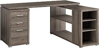 Monarch Specialties Hollow-Core Left or Right Facing Corner Desk, Dark Taupe