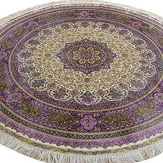 Camel Carpet Handmade Round Area Silk Nain Rug For Sale