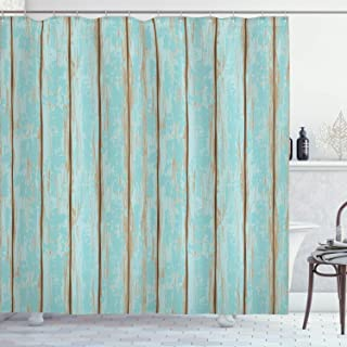 Lunarable Wood Print Shower Curtain, Old Fashioned Weathered Rustic Planks Summer Cottage Beach Coastal Theme, Cloth Fabric Bathroom Decor Set with Hooks, 70