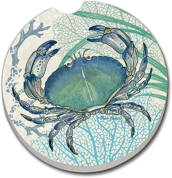 CounterArt Absorbent Stoneware Car Coaster 1 Oceana Blue Crab
