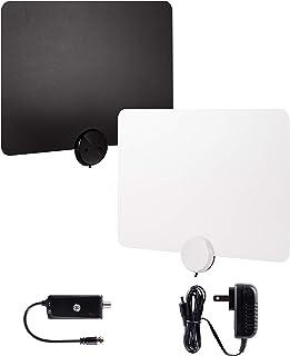 GE Ultra-Thin Amplified TV Antenna, 4K Ready 1080P Digital HDTV UHF VHF, Long Range Indoor TV Antenna, Amplifier with LTE ...