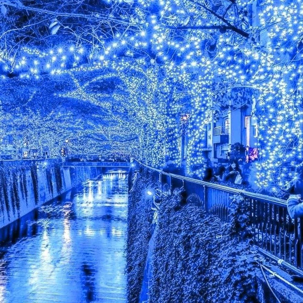 ASKLKD Lichterketten LED-Leuchten Im Innen- Und Außeneinsatz Weihnachten Schnur-Licht-Memory-Funktion, Netz Powered Fee Mit Wasserdichten Outdoor/Indoor Lichterketten LEDs Pink-100m1000leds