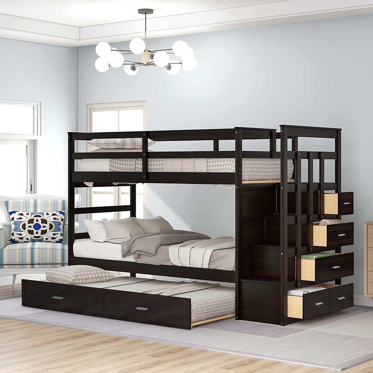 Buy Wood Twin Bunk Bed For Kids Twin Over Twin Bunk Bed Frame With Trundle And Staircase Espresso Online In Indonesia B07rjqjngp