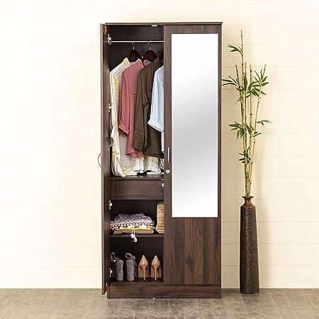 Home Centre Lewis Brown Engineered Wood Two Door Wardrobe with mirror - 76 cm x 42.5 cm x 181.5 cm