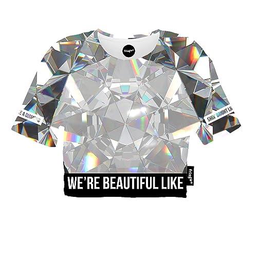 c2e04e9529160 Fringoo ® Women s Girls Crop Top Summer Tee Fashion Cropped T-Shirt Festival  Party Cotton