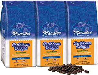 Manatee Caribbean Delight Decaf Whole Bean Coffee 12 Ounce (Pack of 3) Rich Medium Roast Flavored Coffee with Hints of Coconut Hazelnut and Caramel Decaffeinated Low Acid Coffee