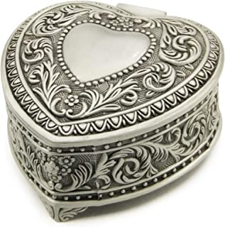 Wingostore Emboss Alloy Metal Music Box Wind Up and Golden Movement Music Box for Christmas/Birthday/Valentine's Day (Heart Shaped, Song:You are My Sunshine)