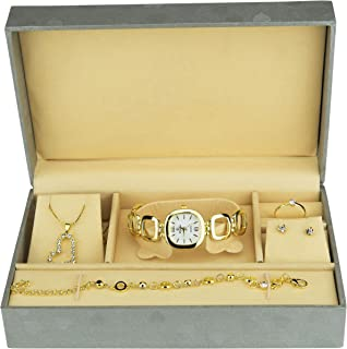 Gift Set Women's Watch Gold- Jewelry Set- Necklace-Ring- Earrings - Band