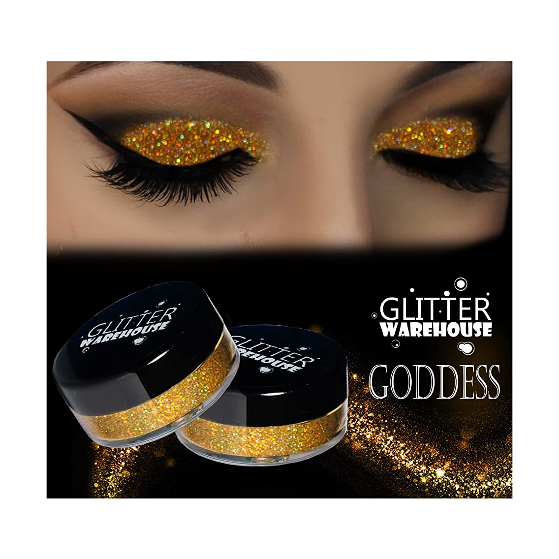 GlitterWarehouse Goddess Holographic Gold Loose Glitter Powder for Eyeshadow, Makeup, Nail Art, Body Tattoo