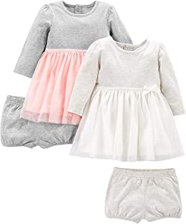 Simple Joys by Carter's Baby Girls' 2-Pack Long-Sleeve Dress Set with Bloomers