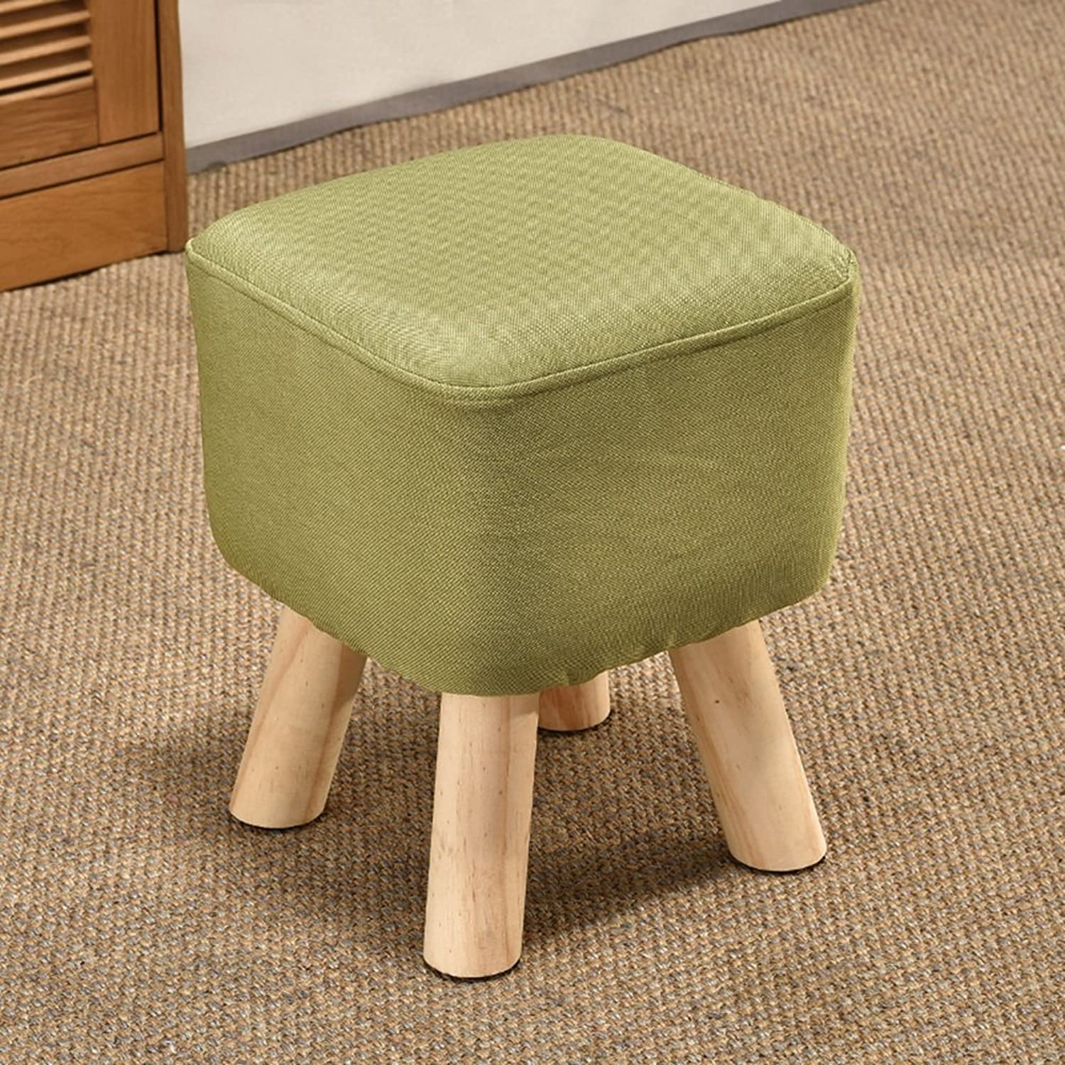 Footstool Sofa Stool Chair Seat Coffee Table Soft Solid Wood Frame Change Small shoes Linen colorful, 5 colors Available, 28x28x34CM (color   Green)