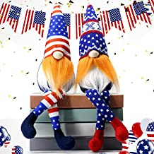 Set of 2 Patriotic gnome Sitter,Tiered Tray Décor,Independence Day Decoration Tomte Veterans Day Standing Figurine for 4th...