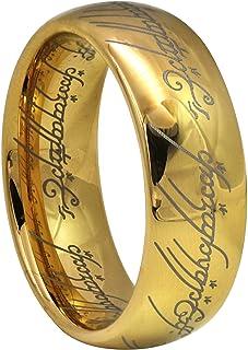 خاتم التنجستين الذهبي سيد الخواتم 6 ملم و8 ملم من كرونال للرجال والنساء، مريح مقاس 4 الى 13