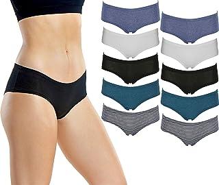 Emprella Women's Boyshort Panties (10-Pack) Comfort Ultra-Soft Cotton Underwear