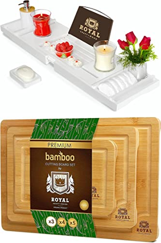 2021 ROYAL CRAFT WOOD Luxury Bathtub Caddy outlet online sale Tray (White) outlet sale and Cutting Board Set online sale